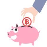 Prosiątko bank i biznesowy ręki kładzenia pieniądze, waluta bahta symbol dla ratować pojęcie wewnątrz Obrazy Stock