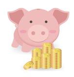 Prosiątko bank I sterty Na Białym Backgroun pieniądze monety ilustracji