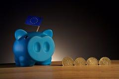 Prosiątko bank na drewnianym podstawowym wiih pieniądze Zdjęcia Stock