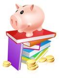 Prosiątko bank na książkach Obrazy Royalty Free