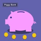 Prosiątko bank, Ratuje pieniądze Obraz Royalty Free