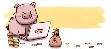 Prosiątko bank używać komputer inwestować - sztandar z akwareli tłem Zdjęcie Royalty Free