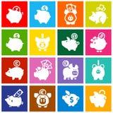 Prosiątko bank, ustawia białe ikony na barwionych kwadratach Fotografia Royalty Free