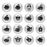 Prosiątko bank, ustawia ikony na round szarość guziku Obrazy Stock