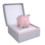 Prosiątko bank w otwartym prezenta pudełku Zdjęcia Royalty Free