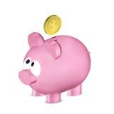 Prosiątko bank z dolar monetą nad bielem Obraz Stock