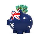 Prosiątko bank z dolarem australijskim Zdjęcie Royalty Free
