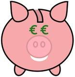 Prosiątko bank z euro oczami Fotografia Royalty Free