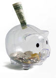 Prosiątko bank z jeden dolarem na wierzchołku obraz royalty free