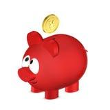 Prosiątko bank z Juan monetą odizolowywałem nad bielem Zdjęcia Royalty Free