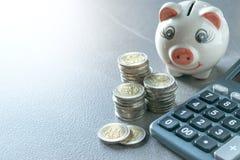 Prosiątko bank z moneta kalkulatorem i pióro na stole fotografia stock