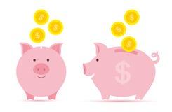 Prosiątko bank z monetami ilustracja wektor