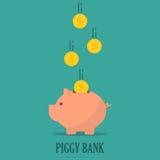 Prosiątko bank z monetami w płaskim projekcie Pojęcie oszczędzanie lub save pieniądze lub otwiera banka depozyt ilustracja wektor
