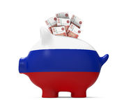 Prosiątko bank z Rosyjskim rublem Zdjęcia Stock
