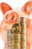 Prosiątko bank z stosami euro monety na białym tle Fotografia Royalty Free
