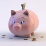 Prosiątko bank z USA rachunkami & monetami ilustracji