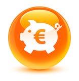 Prosiątko banka euro znaka ikony szklisty pomarańczowy round guzik Zdjęcie Royalty Free