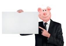 Prosiątko banka głowy biznesowy mężczyzna Zdjęcia Royalty Free