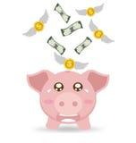 Prosiątko banka płacz Gdy Zobaczy pieniądze Latać Daleko od royalty ilustracja