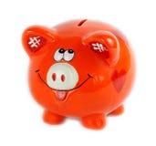 Prosiątko banka stylu pieniądze pudełko na bielu Zdjęcie Royalty Free