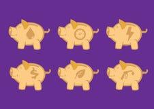 Prosiątko banki z Symbolicznych ikon projekta Wektorowymi elementami Zdjęcie Royalty Free