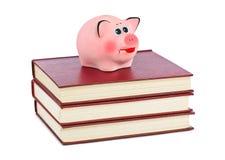 Prosiątko książki i bank Obraz Royalty Free