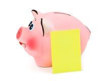 Prosiątko bank i nutowy papier Zdjęcie Royalty Free
