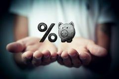 Prosiątko bank i procentu symbol Zdjęcia Royalty Free