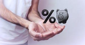 Prosiątko bank i procentu symbol Zdjęcia Stock