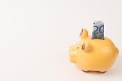 Prosiątko banka 20 euro Zdjęcie Royalty Free