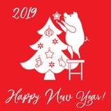 Prosiaczek dekoruje choinki Nowy Rok symbole Projekt dla poczt?wki, sztandaru, plakata lub druku, ilustracji