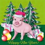 Prosiaczek w nowego roku s nakrętce royalty ilustracja
