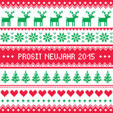 Prosit Neujahr 2015 - Happy New Year in German pattern. Red and green background for celebrating New Years - Nordic knitting style Stock Photo