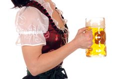 Prosit. A young woman in Bavarian Dirndl is holding a stein with one liter beer Stock Images