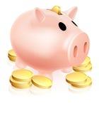 Prosiątko bank i złociste monety Obrazy Royalty Free