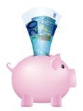 Prosiątko banka dwadzieścia euro banknot Zdjęcia Royalty Free
