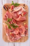 Prosiutto ham, cured ham and fig Stock Images