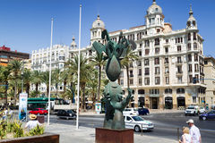 Prospect Av del Almirante Julio Guillen Tato with palm trees,  Alicante, Valencia, Spain Stock Images