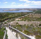 Prospect Hill Lookout. A young woman admiring the magnificent view over Pelican Lagoon. Prospect Hill Lookout, Kangaroo Island, South Australia stock photography