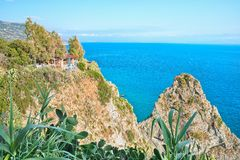 The prospect of the lighthouse Belvedere Nord in the province of Vibo Valentia (Capo Vaticano) Royalty Free Stock Photo