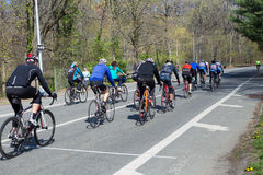 Prospect park Brooklyn. New York City, New York, USA - April 25, 2014:  View of cyclists riding along bike lane in Prospect Park Brooklyn Stock Photography