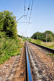 Prospect of railway in a landscape in summer Stock Photography