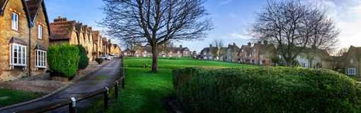 Prospect Square with workers houses built around grassy common in Westbury, Wiltshire, UK. On 17 January 2019 stock images