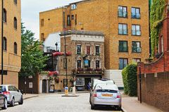 Prospect of Whitby old English pub street view London. The Prospect of Whitby is a historic public house on the banks of the Thames at Wapping in the London Royalty Free Stock Photo