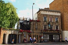 Prospect of Whitby old English pub street view London. The Prospect of Whitby is a historic public house on the banks of the Thames at Wapping in the London Stock Photography