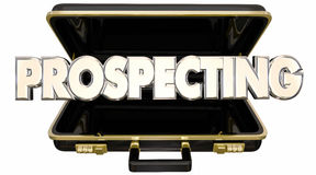 Prospecting Find New Customers Sell Sales Briefcase Stock Image