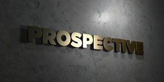 Prospective - Gold text on black background - 3D rendered royalty free stock picture Stock Images
