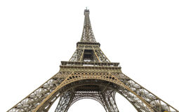 Paris Eiffel Tower. Prospective lower wide view of Tour Eiffel, symbol and icon of Paris. Paris Eiffel Tower isolated on white background and copy space. Paris Stock Images