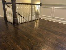 Prospective shoot of the dark cherry hardwood floor. stock photo