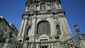 Church of Clerigos Porto. Prospective tilt view of baroque facade of Church of Clerigos or Igreja dos Clerigos in historic center of Porto, Porgugal, one famous stock video